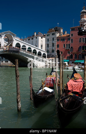Gondolas near Riato Bridge, Venice, Italy - Stock Image