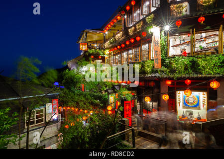 Jiufen, Taiwan - November 7, 2018: A night view of the famous old teahouse decorated with Chinese lanterns, Jiufen Old Street, Taiwan on November 02 2 - Stock Image