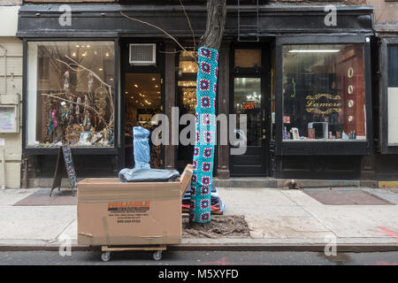 New York, NY, USA, 26 Feb 2018 - Beginning in November, shop keeper Holly Boardman, owner of local lingerie store - Stock Image