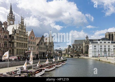 Lys River and the Historical Buildings Ghent Belgium - Stock Image