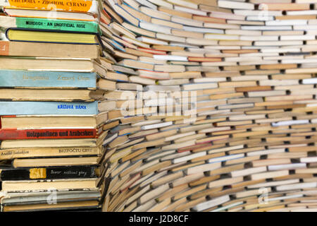 Czech Republic, Prague. Book sculpture at Prague City Library. Credit as: Wendy Kaveney / Jaynes Gallery / DanitaDelimont.com - Stock Image