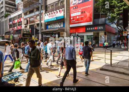 Crossing on Hennessy Road, Hong Kong Island - Stock Image