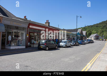Shops and Cafes in Royal Deeside on a street in Ballater, Aberdeenshire, Scotland, UK. - Stock Image
