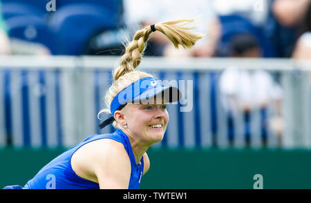 Eastbourne UK 23rd June 2019 - Harriet Dart of Great Britain in action against Anett Kontaveit of Estonia during their first round match at the Nature Valley International tennis tournament held at Devonshire Park in Eastbourne . Credit : Simon Dack / TPI / Alamy Live News - Stock Image