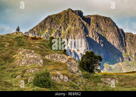 Person Admiring The View, Lofoten Islands, Norway - Stock Image