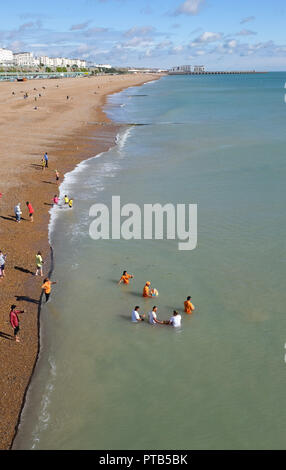 Hindu ceremony in the sea by the Brighton Palace Pier 23 Sept 2018 - Stock Image