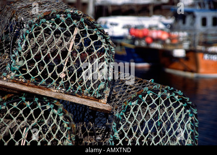 PICTURE CREDIT DOUG BLANE Fishing barskets in Kirkwall harbour 2006 cycle tour of Orkeny Shetland Islands Great Britain - Stock Image