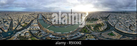 Paris Aerial 360 Panoramic Cityscape View in France. Beautiful City Skyline and Famous Landmarks, Central Downtown Buildings Wide Panorama - Stock Image