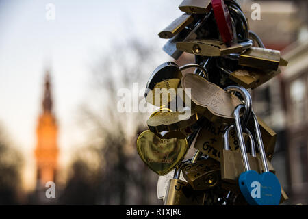 Love lock padlocks in Amsterdam, The Netherlands on Valentines Day 14th February 2019 - Stock Image