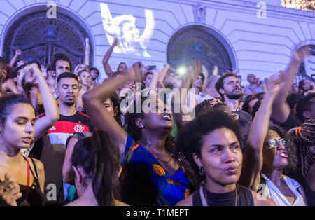 Demonstration for Marielle Franco, Brazilian feminist, politician and human rights activist, murdered on 14 March 2018 in Rio de Janeiro -  she had been an outspoken critic of police brutality and extrajudicial killings. Protestors get emotional, downtown Rio de Janeiro, Brazil. - Stock Image