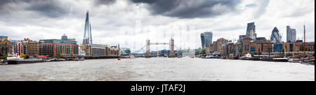 Panorama of London seen from River Thames with the Shard, Tower Bridge and the city, London, England, United Kingdom, Europe - Stock Image