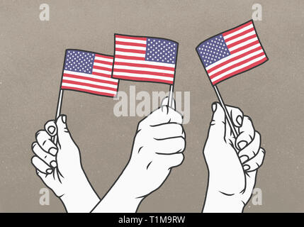 Hands waving small American flags - Stock Image