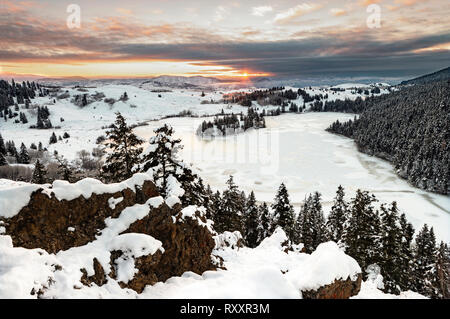 The Grasslands at Lac Du Bois, north of Kamloops meet the heavily forested region at its northern border during sunrise, Thompson Okanagan region, British Columbia, Canada - Stock Image