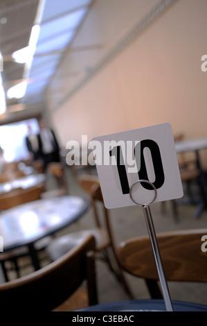 Restaurant table maker displaying number 10 - Stock Image