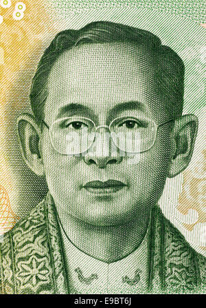 King Rama IX (born 1927) on 20 Baht 2013 Banknote from Thailand. King of Thailand. - Stock Image