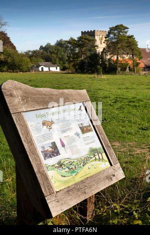 England, Berkshire, Streatley, Streatley Meadows, community chalk downland and St Mary's church - Stock Image