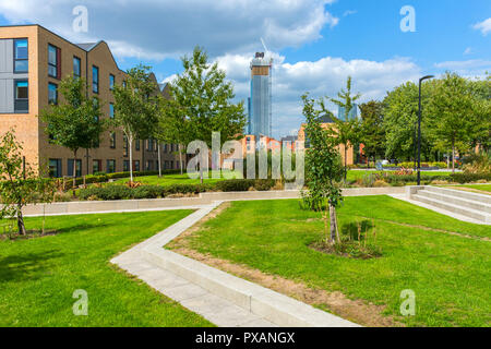 One of the Deansgate Square towers seen from the grounds of the Brooks Academic building, Birley Campus, Manchester, England, UK. - Stock Image