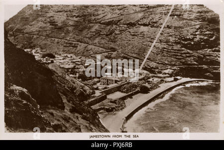 View of Jamestown, St Helena Island in the South Atlantic Ocean - note the Jacob's Ladder stairway heading straight up the hillside on the right...     Date: circa 1930s - Stock Image