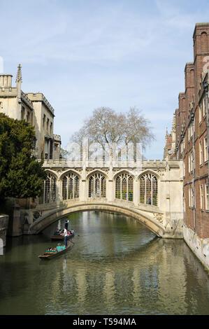 Bridge of Sighs St Johns College Cambridge from the Kitchen Bridge 2019 - Stock Image