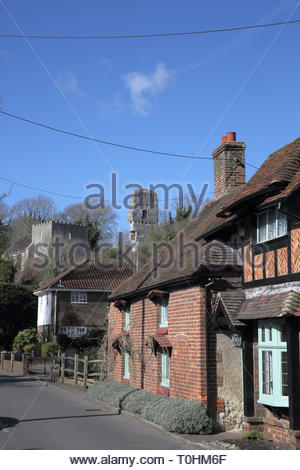 views of the church and castle in the small sussex village of bramber west sussex - Stock Image