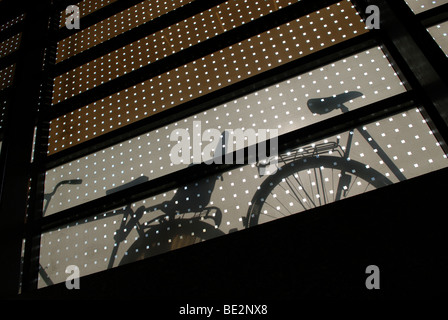 BICYCLES SILHOUETTED - Stock Image