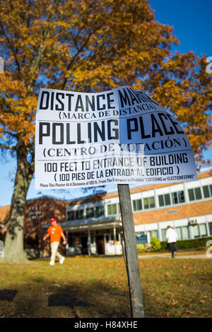 Merrick, New York, USA. Nov. 08, 2016. On Election Day, residents come from, and go to, to Polling Place to vote - Stock Image