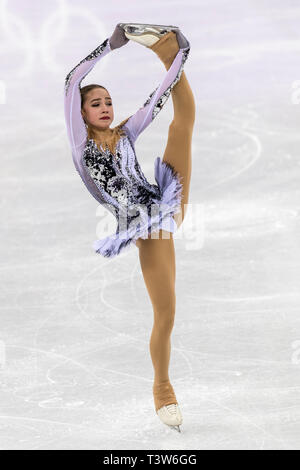 Alina Zagitova (OAR) competing in the Figure Skating - Ladies' Short at the Olympic Winter Games PyeongChang 2018 > - Stock Image