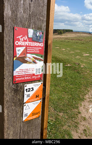 Try Orienteering and control point signs on wooden post at Bradgate Park Leicestershire, UK - Stock Image