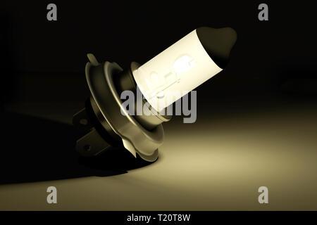 H4 type halogen car light bulb glowing in dark - 3d render - Stock Image