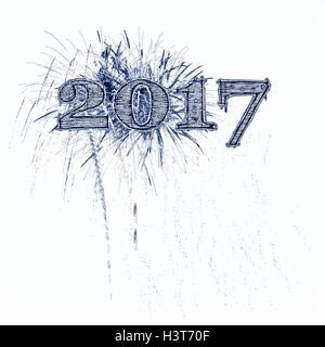 Fireworks illustration celebrating 2017 grunge blue and black numbers white background Happy New Year Year's - Stock Image