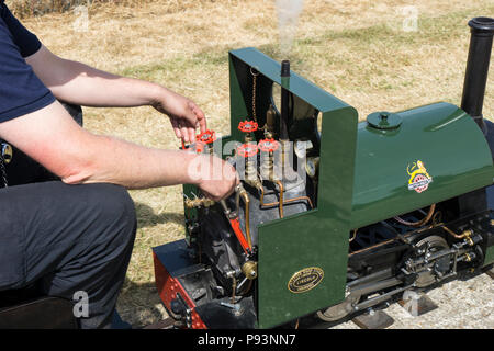 Controls for miniature sream engine at Wings and Wheels - Stock Image