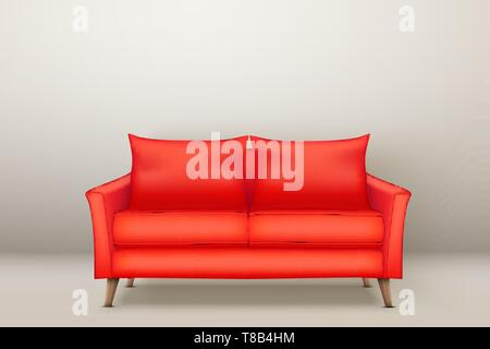 Interior of Modern red soft sofa - Stock Image