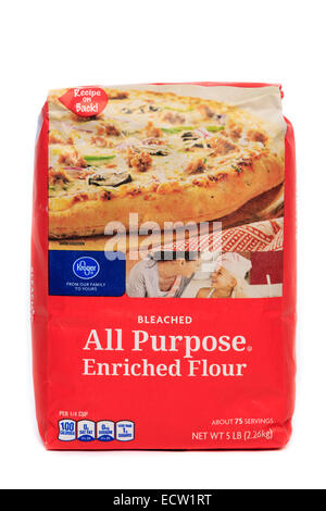 Kroger Brand Bleached All Purpose Enriched Flour - Stock Image