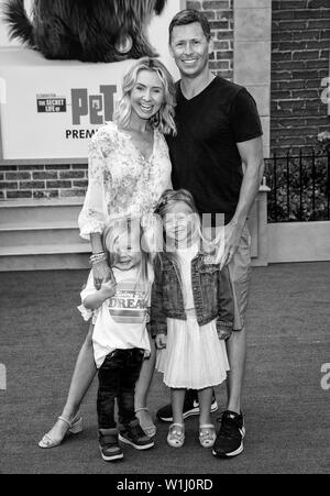 Los Angeles, CA - June 02, 2019: Beverley Mitchell (top, L), husband Michael Cameron (R), son Hutton (bottom, L) and daughter Kenzie (C) attend the Pr - Stock Image