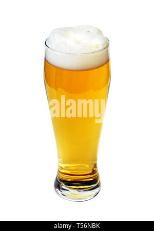 Pint glass beer high angle view isolated with clipping path. Focus on bubbles - Stock Image
