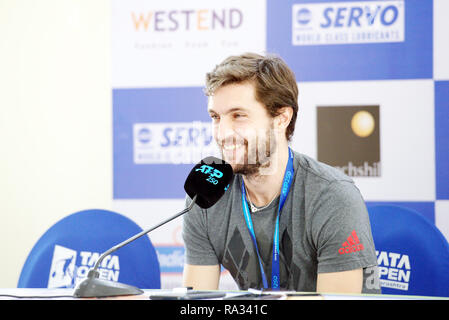Pune, India. 31st December 2018. Gilles Simon of France speaks to the press on the inaugural day of Tata Open Maharashtra ATP Tennis tournament in Pune, India. Credit: Karunesh Johri/Alamy Live News - Stock Image