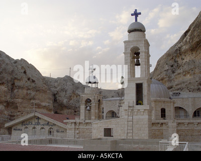 Malula is one of the most famous villages in Syria. At the rock slopes are loam houses. In Malula is also convent of the holy - Stock Image