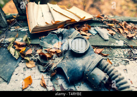Abandoned Village Masheva in Ukraine nearby Chernobyl Nuclear Power Plant.  It was evacuated on the 27th of April 1986, day after the most devastating - Stock Image