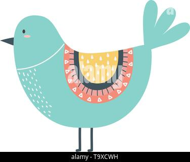 Bird cartoon design, Animal cute zoo life nature and fauna theme Vector illustration - Stock Image
