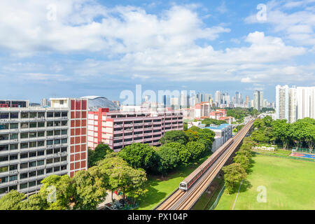 Cityscape of Geylang, Kallang area overlooking downtown of Singapore - Stock Image