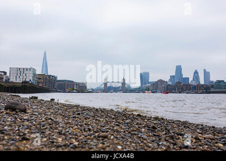 Low angle view of the City of London from Bermondsey Beach, London, England, United Kingdom - Stock Image