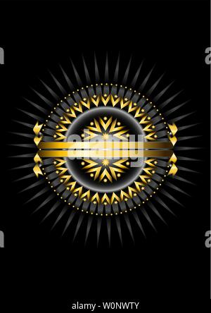 Golden round frame of round beads with an oval of golden arrows and stars on a black background with silver rays and a double gold ribbon - Stock Image