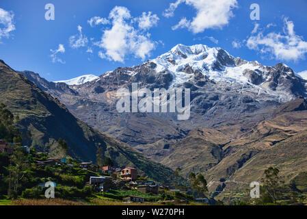 View of Illampu while doing Cordillera Real Traverse, Sorata, Bolivia - Stock Image