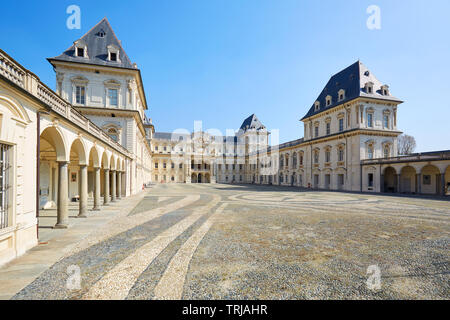 TURIN, ITALY - MARCH 31, 2019: Valentino castle and empty court in a sunny day, clear blue sky in Piedmont, Turin, Italy. - Stock Image