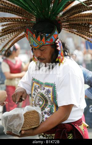 Aztec Shaman, Zocalo Square, Plaza de la Constitucion, Mexico City, Mexico - Stock Image
