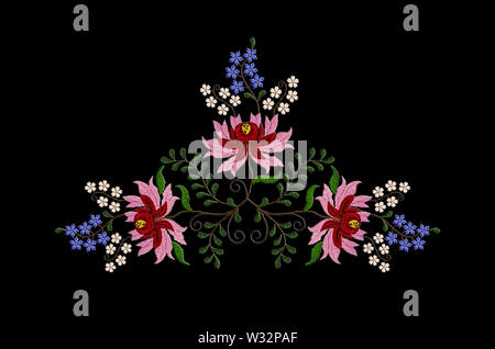 Black background with embroidered  bouquet with red and pink petals on large flowers and small blue and white flowers on twisted branches with leaves - Stock Image