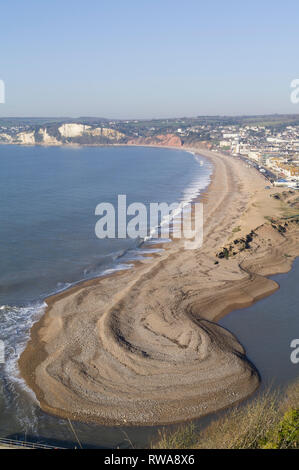 Seaton beach and spit at Axmouth, East Devon, UK - Stock Image