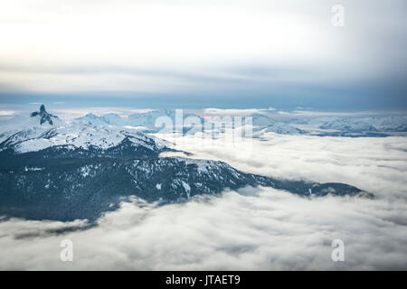 Wide angle view of Black Tusk from the Peak of Whistler Mountain, British Columbia, Canada, North America - Stock Image