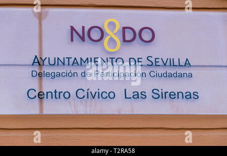 NO8DO sign outside an art museum in Seville - Stock Image