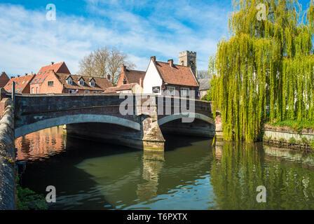 The Historic Fye Bridge, crossing The River Wensum in Norwich, Norfolk, England, UK. - Stock Image